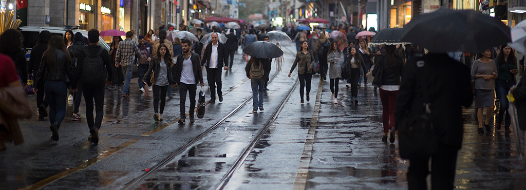 Our Savior God desires all men to be saved and to come to the full knowledge of the truth - here is a crowd of people downtown on a rainy day. Every person needs God!