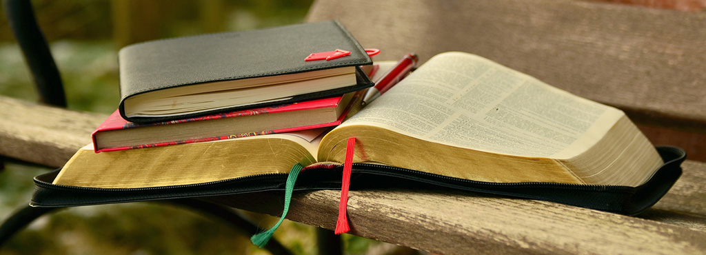 Free study Bible - picture of books on bench